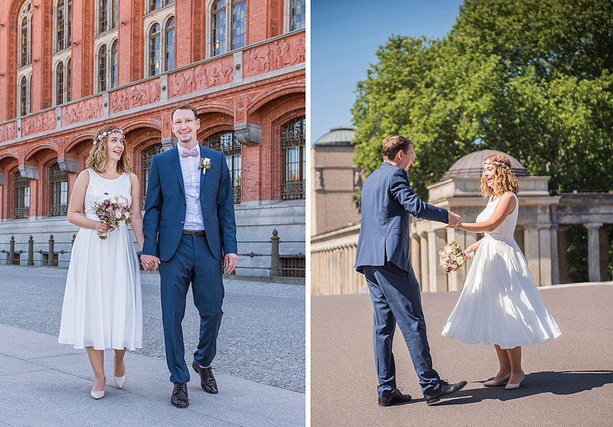 sommerhochzeit berlin, heiraten in berlin , hochzeit zu zweit, hochzeitsfotos im sommer, museumsinsel berlin, rotes rathaus berlin