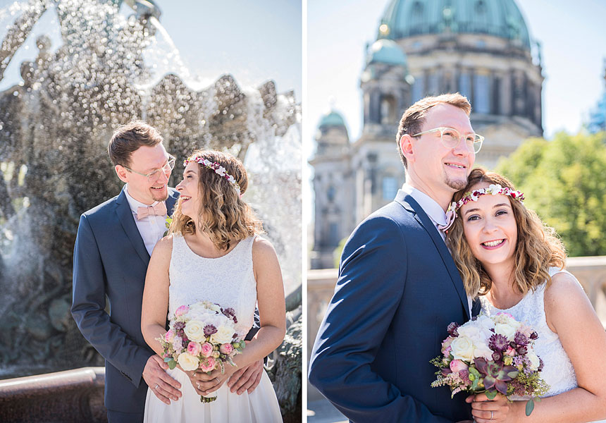sommerhochzeit in berlin, heiraten im standesamt mitte, berliner dom, neptunbrunnen, hochzeit zu zweit berlin, heiraten in berlin, zu zweit heiraten