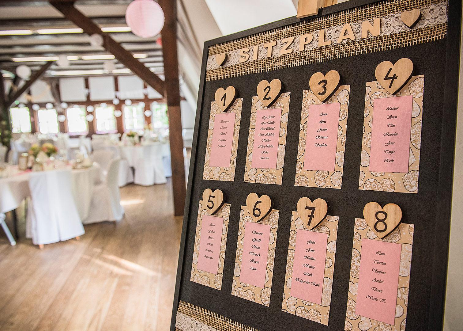 sitzplan hochzeit, diy sitzplan, hochzeitsdeko, hochzeitsfotograf, tischdekoration hochzeit, heiraten in der springbachmühle